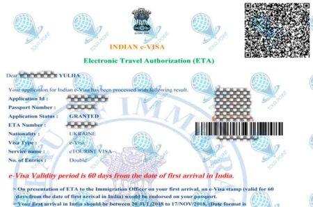 Электронная виза в Индиюдля граждан Украины фото