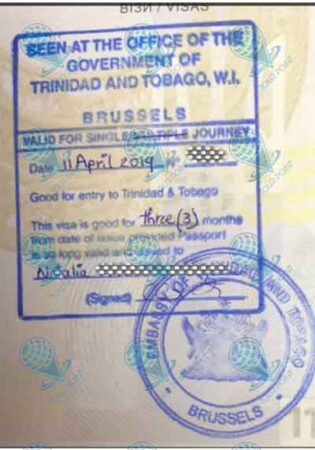 Виза в Тринидад и Тобаго изображение