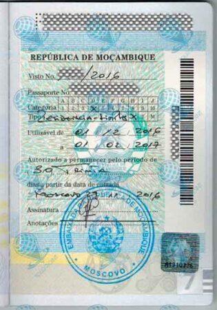 Виза в Мозамбик изображение