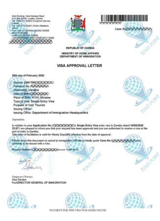 Электронная виза в Замбию фото